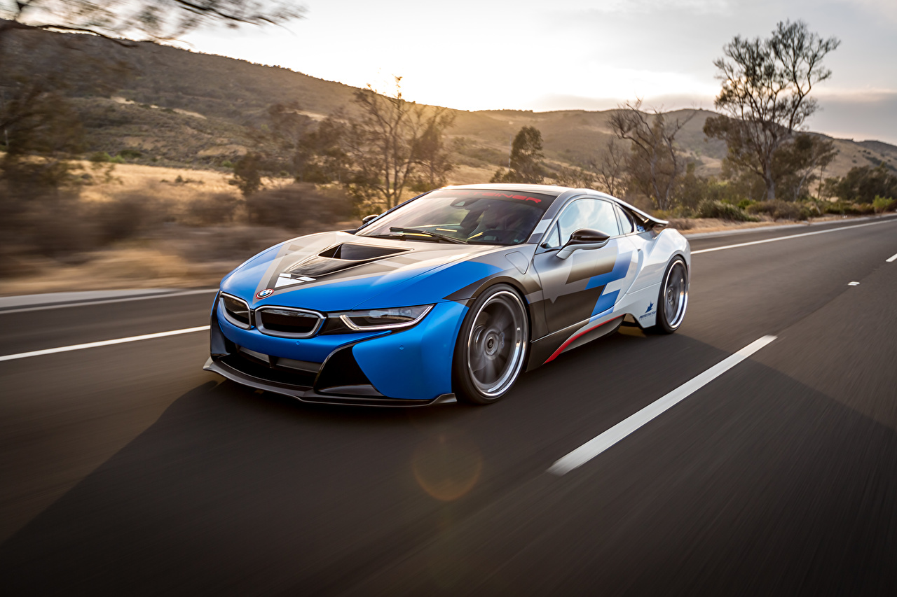 Photos BMW i8 driving auto moving riding Motion at speed Cars automobile