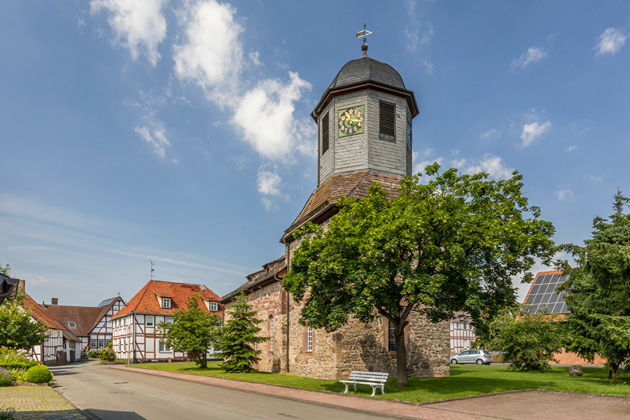 Photos Church Germany Tower Clock Sky Street Cities towers