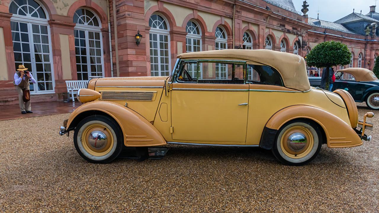 Desktop Hintergrundbilder Opel 1938 Super Six Gelb antik Autos Seitlich Retro auto automobil