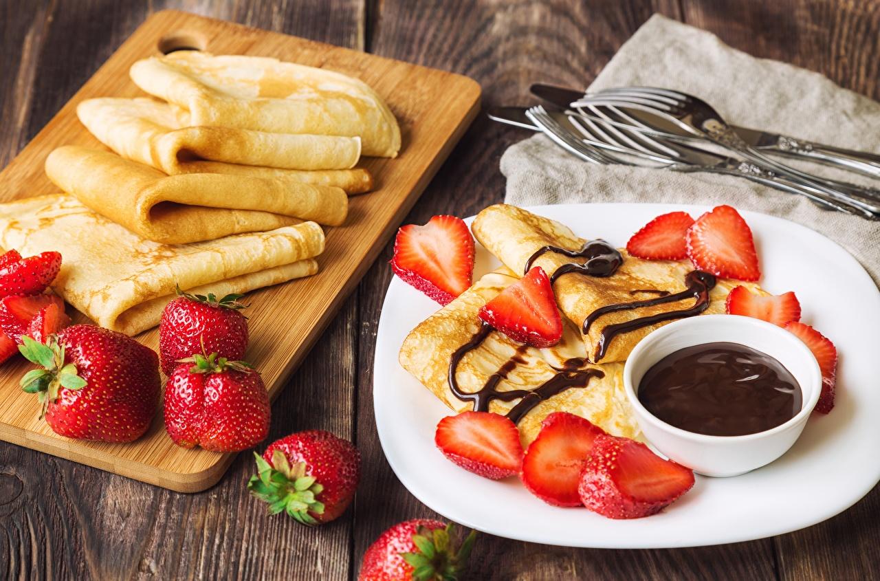 Picture Chocolate Pancake Strawberry Food hotcake