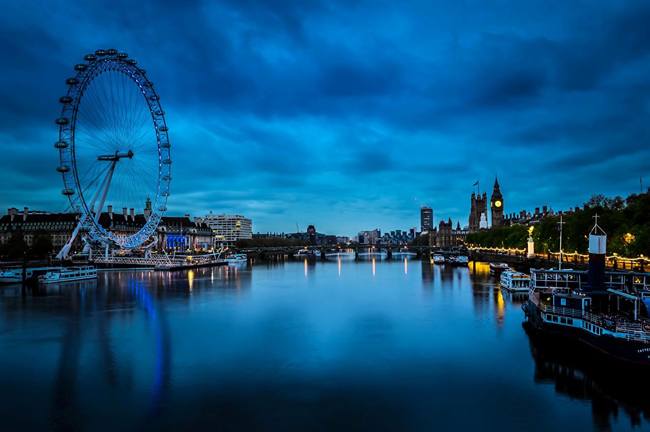 壁紙 イギリス 川 住宅 桟橋 モーターボート Westminster
