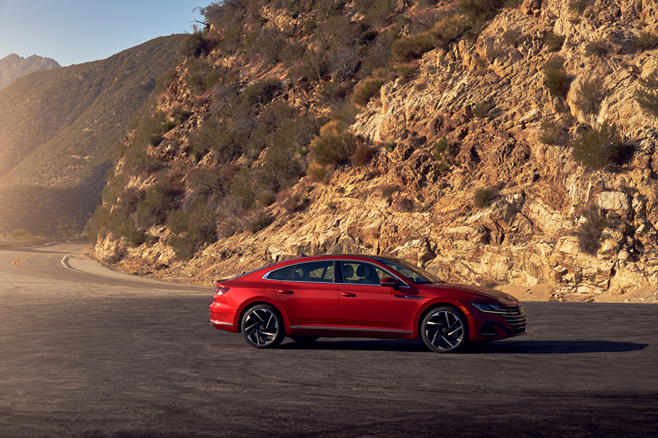 Images Volkswagen Arteon 4MOTION R-Line, North America, 2020 Red Cars Side Metallic auto automobile