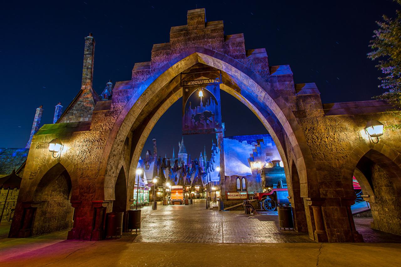 Foto Anaheim Kalifornien Disneyland USA HDRI Park Nacht Straßenlaterne Haus Städte Design Vereinigte Staaten HDR Gebäude
