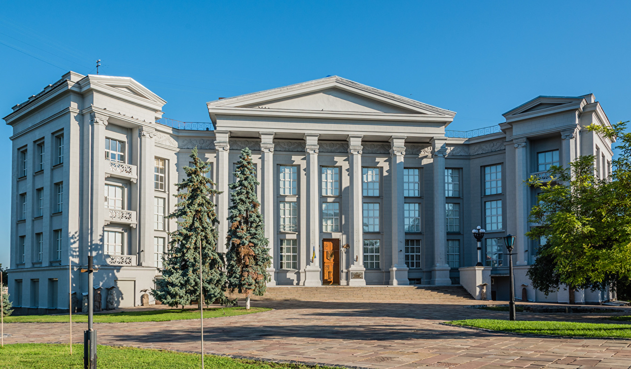 Desktop Hintergrundbilder Kiew National Museum of the History of Ukraine Straßenlaterne Haus Städte Museen Gebäude