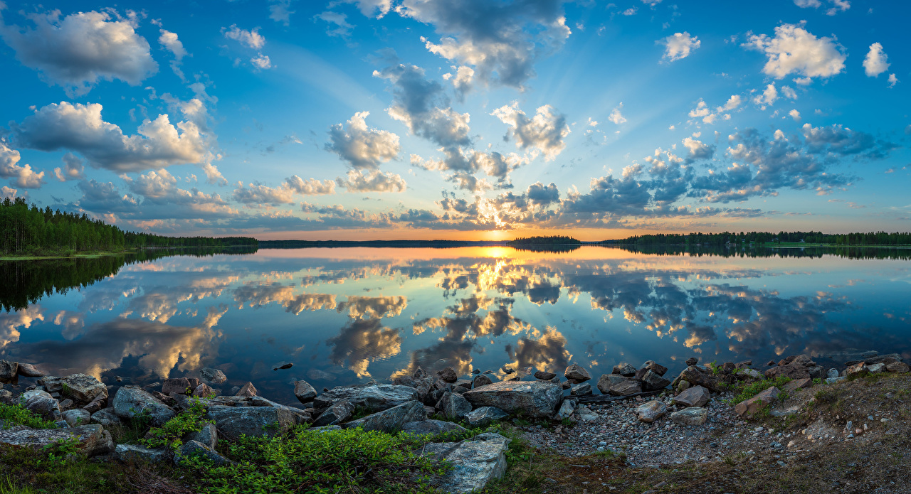 Photo Finland Nature Sky Lake Forests Reflection landscape photography stone Clouds forest Scenery reflected Stones