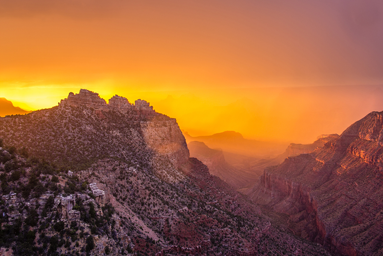 Images Grand Canyon Park USA Nature Canyon Mountains Parks Sunrises and sunsets