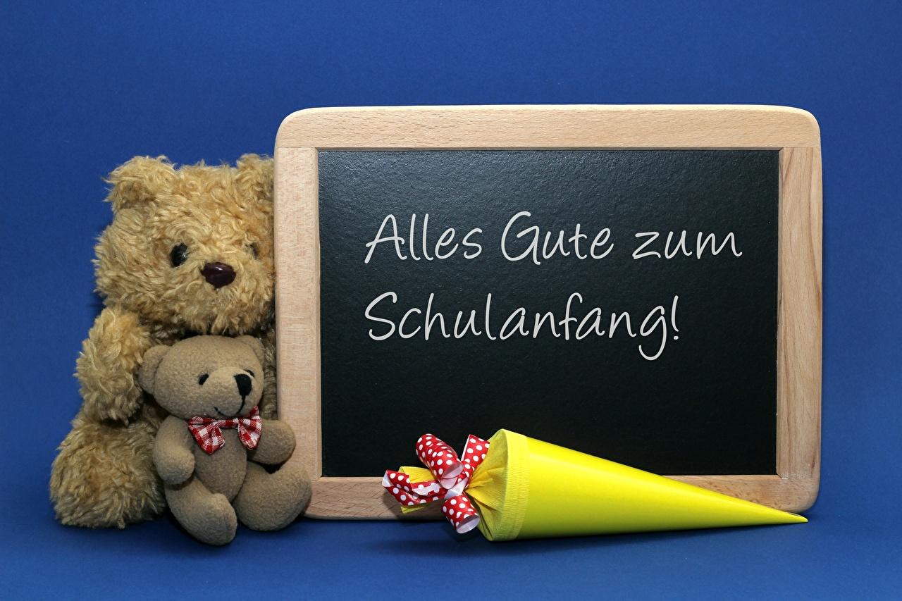 Image German Alles Gute zum Schulanfang 2 Blue Teddy bear Sitting Two sit
