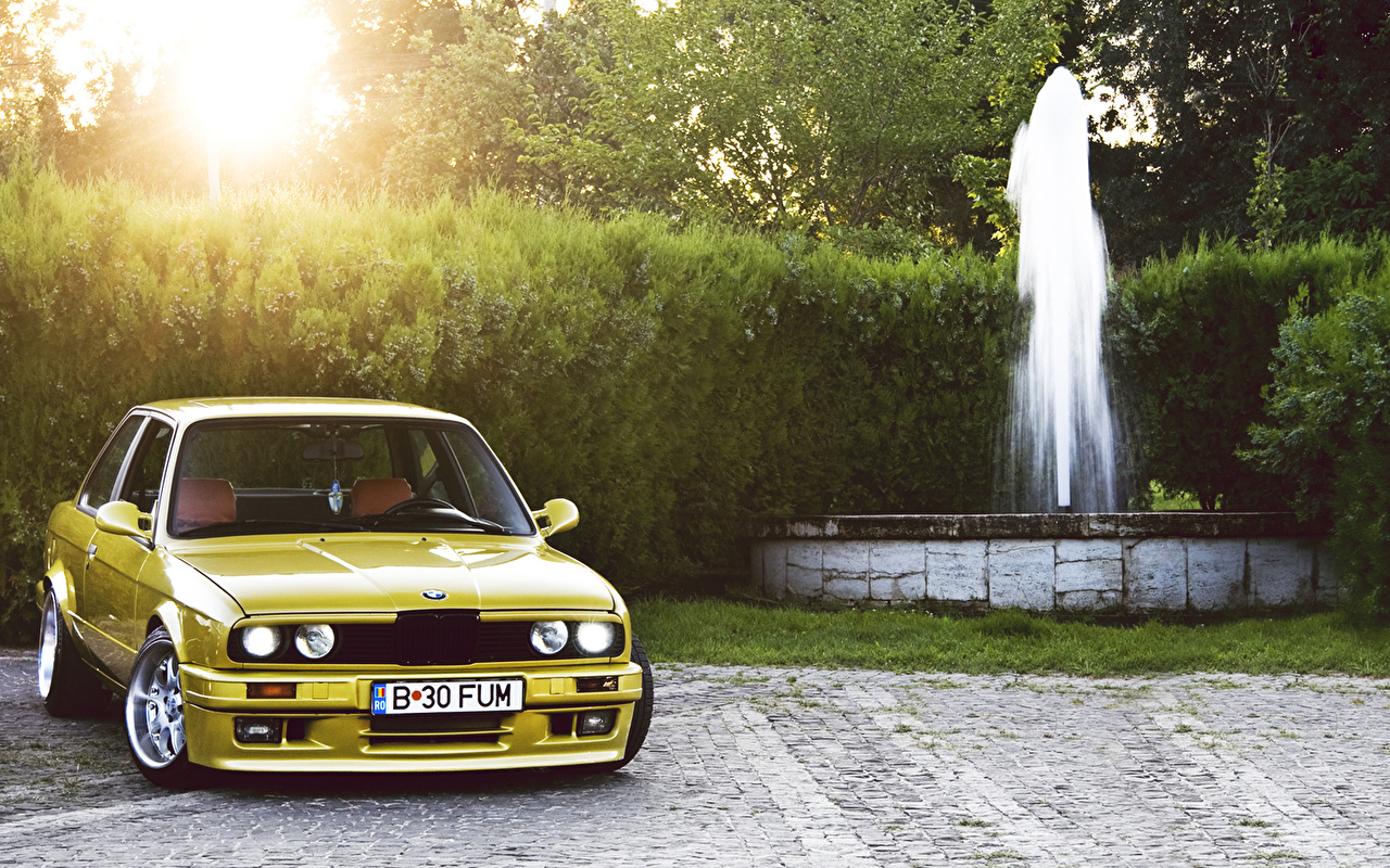 Picture Bmw Fountains Yellow Cars