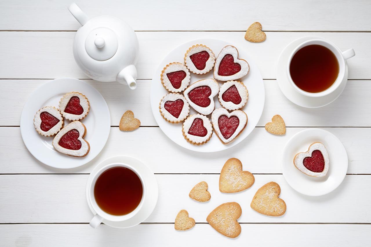 Foto Valentinstag Herz Tee Kekse Tasse das Essen Bretter Lebensmittel