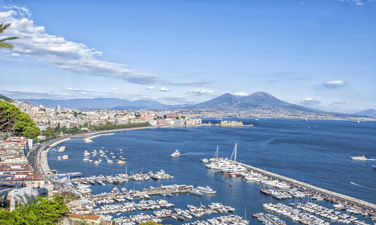 Images Italy Naples, Campaign, Bay Naples Yacht Marinas Horizon powerboat Cities Pier Berth speedboat Motorboat
