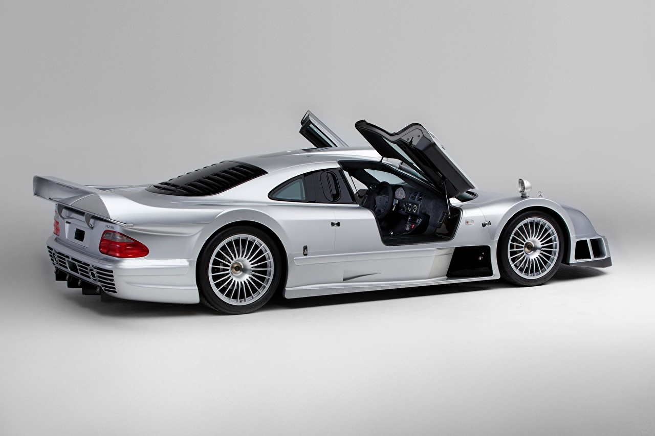 Pictures Mercedes-Benz CLK GTR AMG Coupe, 1997 Silver color Door Side Cars Metallic Gray background auto doors automobile