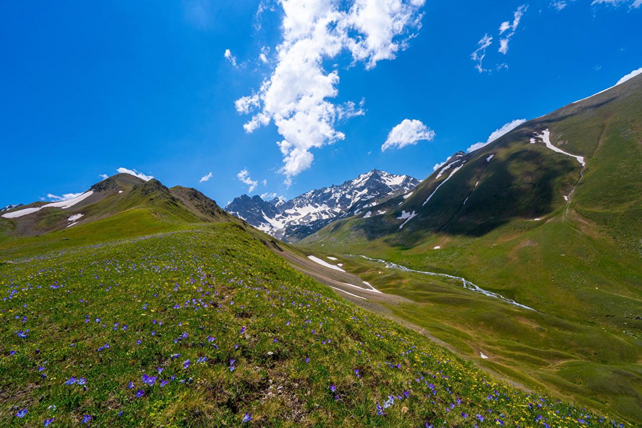 Desktop Hintergrundbilder Russland Teberda national park, Dombay Berg Natur Parks Wolke Gebirge Park