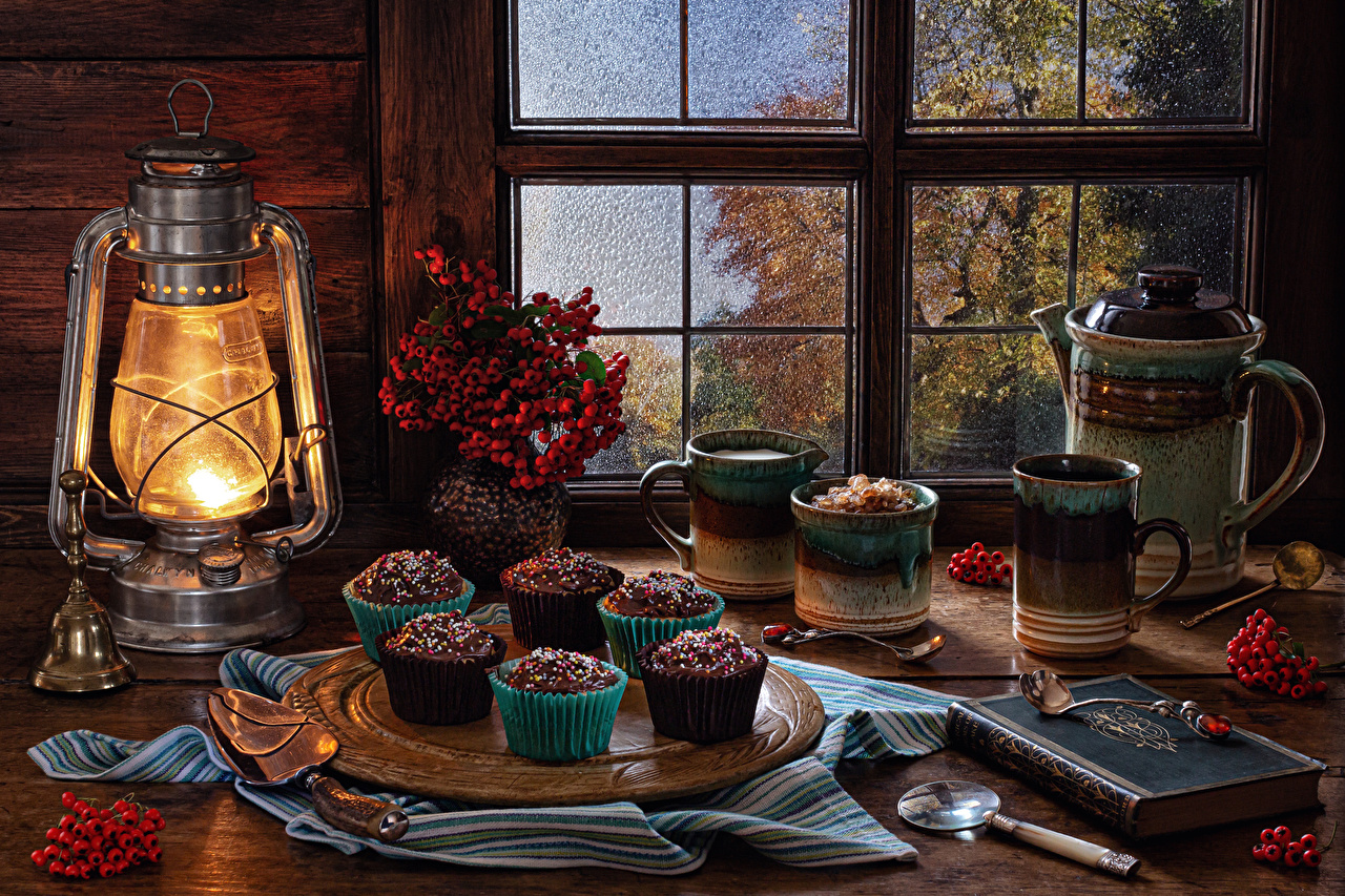 Pictures Kerosene lamp Mug Book Food Berry Bells Spoon Branches Still-life Little cakes paraffin lamp books Handbell