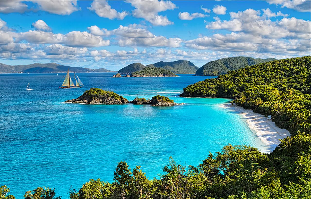 、アメリカ合衆国、海岸、公園、海、島、風景写真、St. John Virgin Islands National Park、雲、自然、