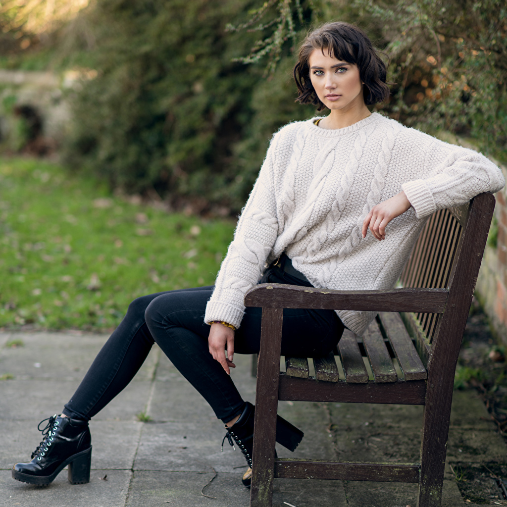 Photo Abigail Girls Jeans Sweater Bench Sitting Staring female young woman sit Glance