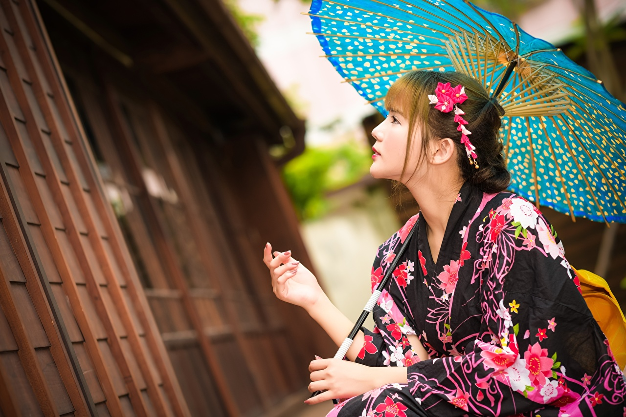 Image Kimono Girls Asiatic Side Hands Umbrella female young woman Asian parasol