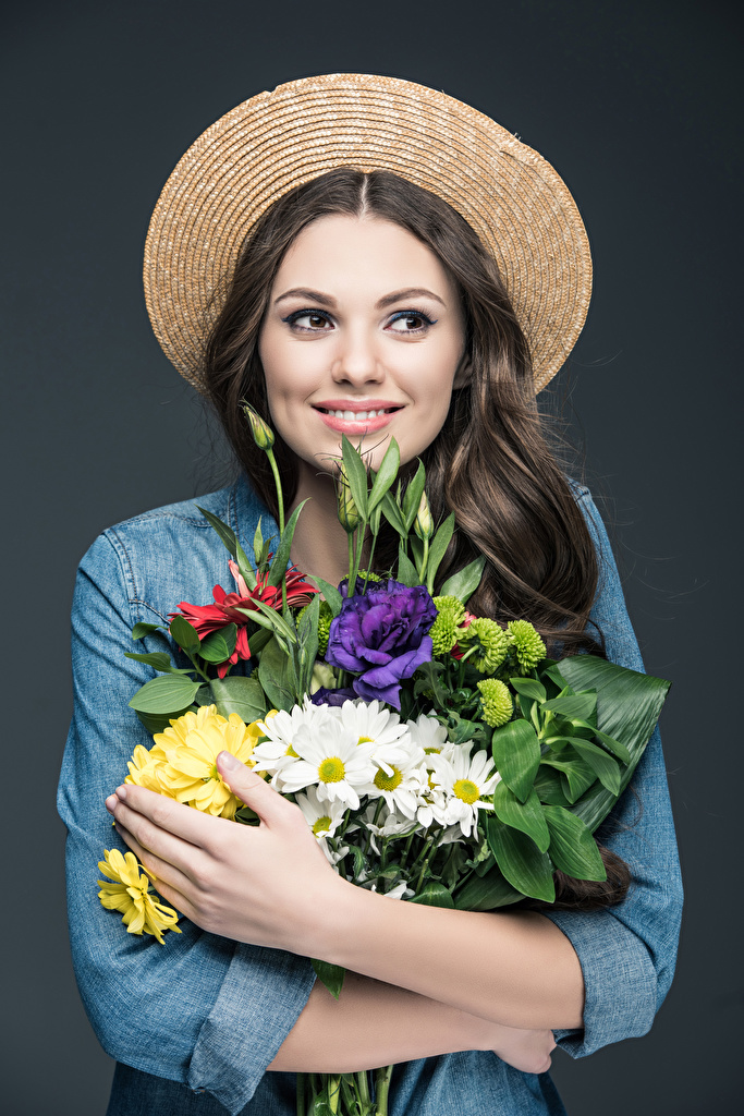 Wallpaper Brown haired Smile Bouquets Hat Girls Hands Gray background