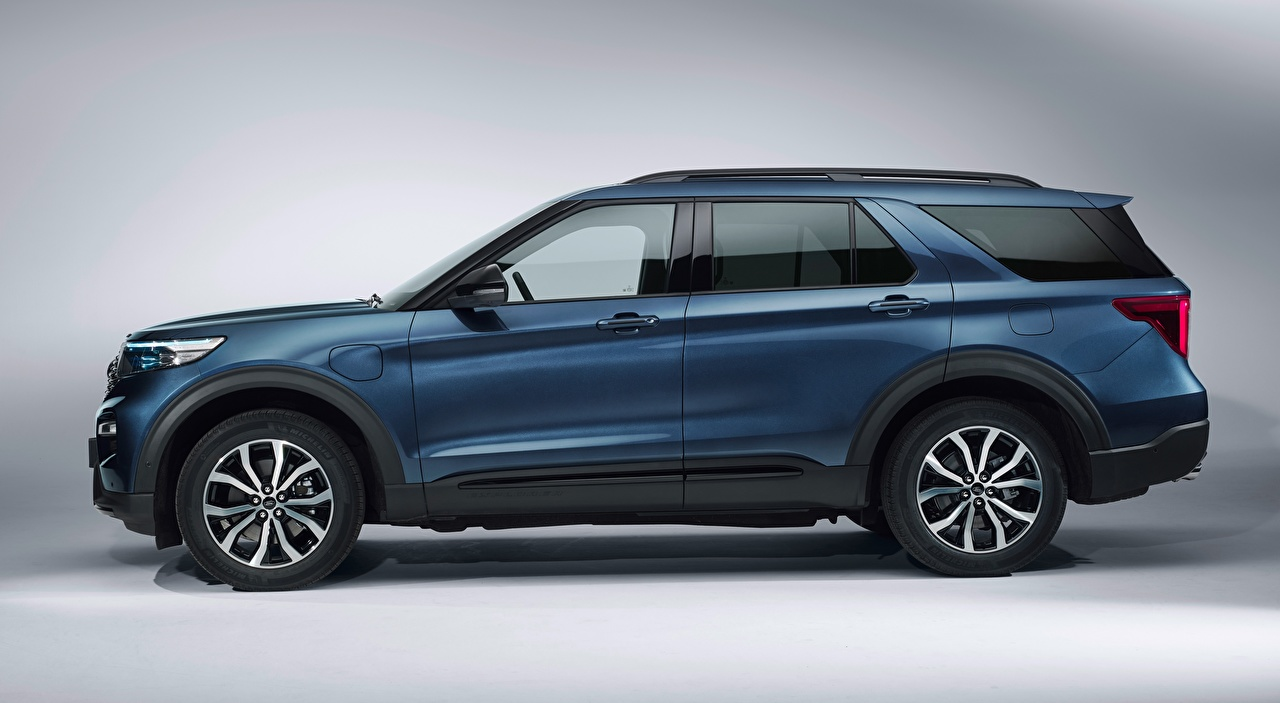 Images Ford Crossover Explorer, Plug-in Hybrid, ST-Line, 2019 Side Cars Gray background CUV auto automobile