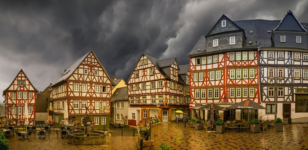 Photos Cities Germany Wetzlar Panorama Rain Building Thundercloud panoramic Houses storm cloud