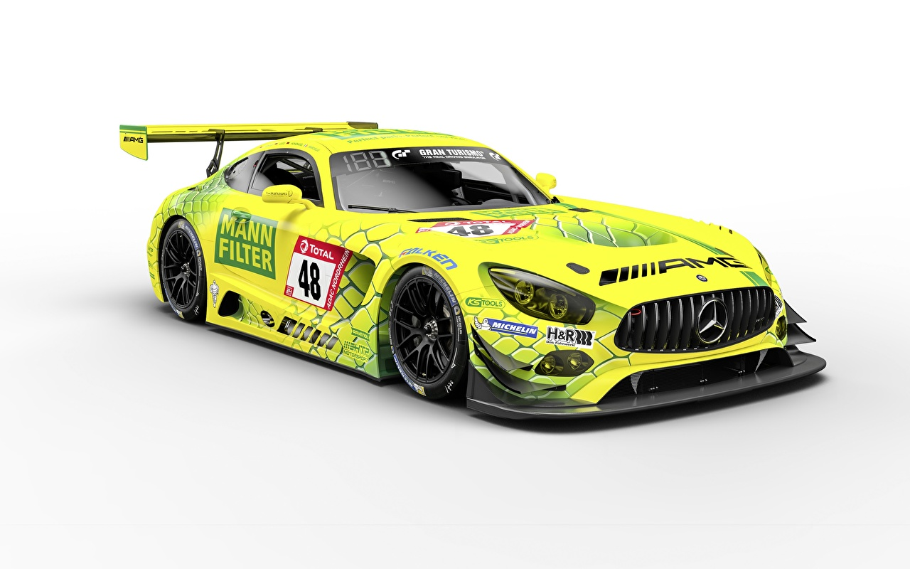 Photos Tuning Mercedes-Benz Yellow green Cars White background