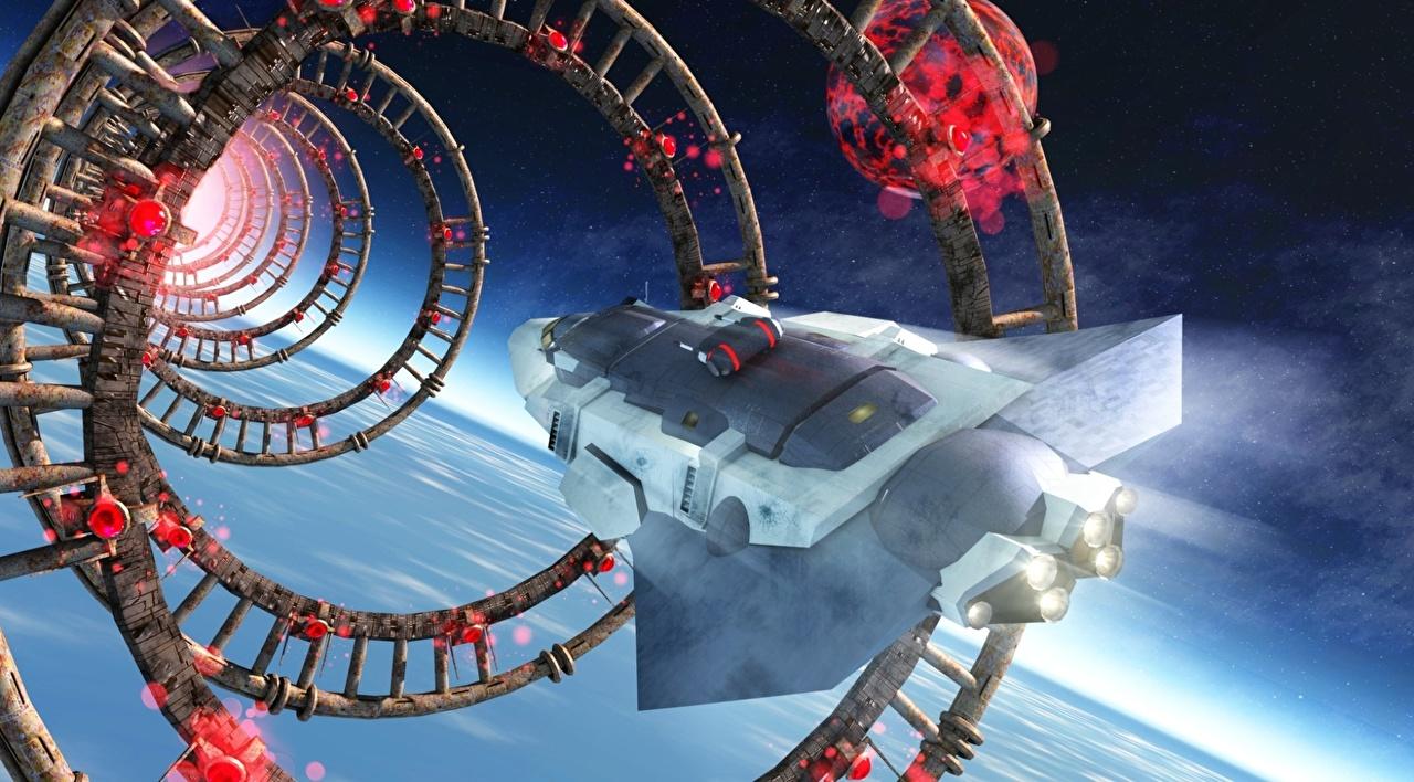 Wallpaper Starship Space Fantasy 3D Graphics ship Flight Technics Fantasy Ships