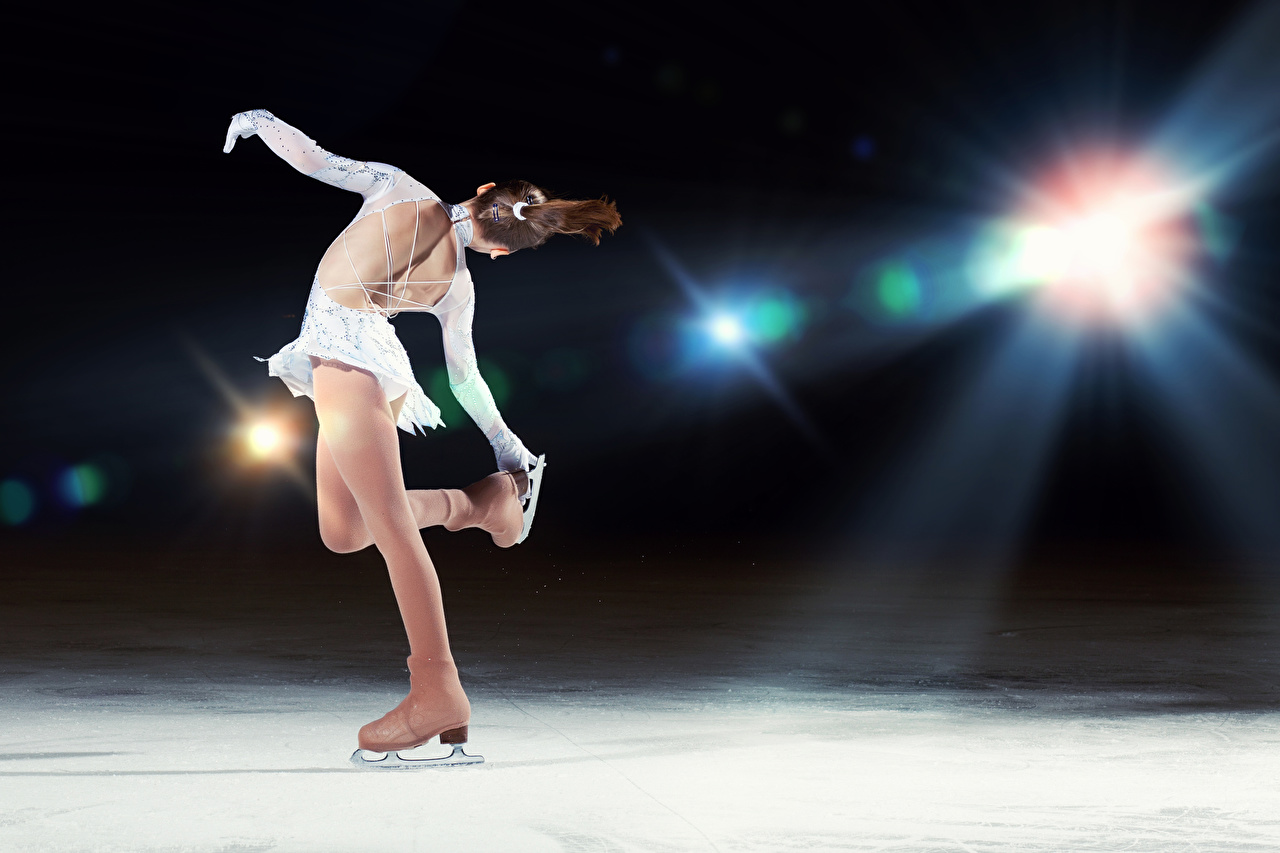 Images Ice skate Brown haired Dancing Ice Human back Sport young woman Dance Girls sports athletic