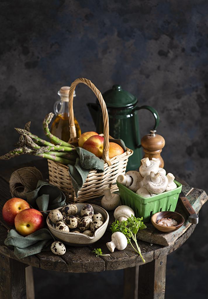 Desktop Wallpapers Asparagus Eggs Apples Mushrooms Wicker basket Food  for Mobile phone egg