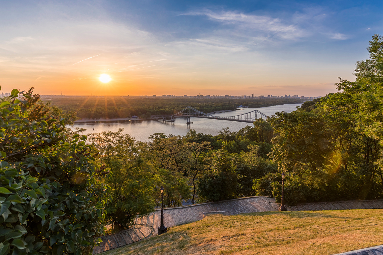 Image Kiev Ukraine Dnieper River Bridges sunrise and sunset Rivers Cities bridge Sunrises and sunsets river