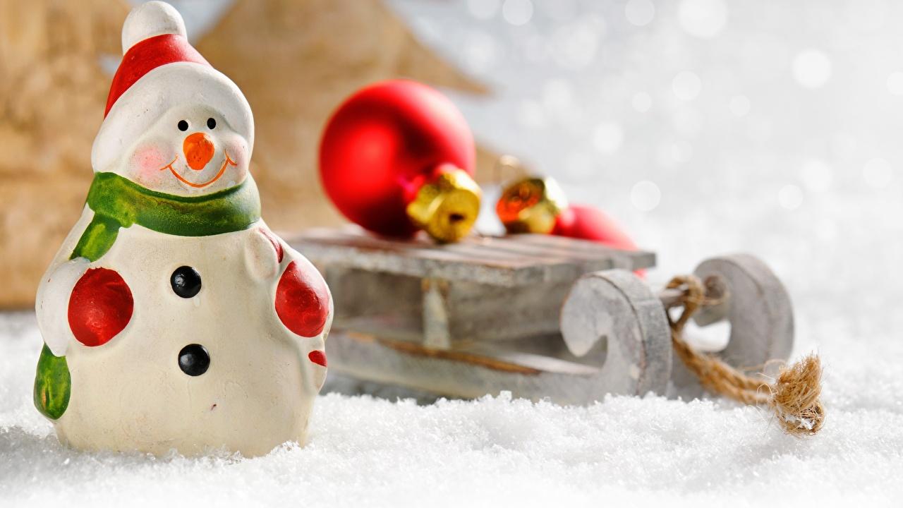 Photo New year Sled Snow Snowman Balls toy Christmas sledge sleigh Snowmen Toys