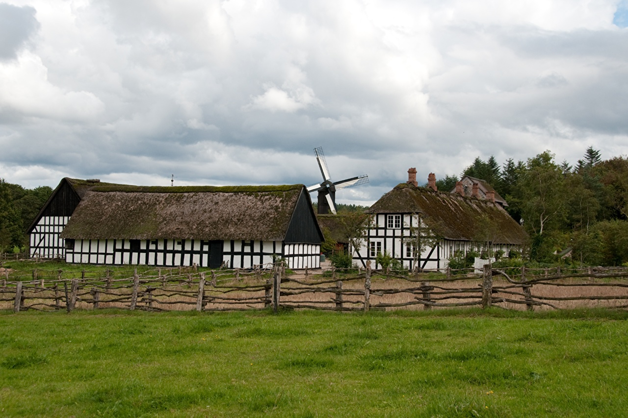 Photos Denmark museums windmills Ljungby, Frilandsmuseet Fence Grass Cities Building Mill Museum windmill Houses