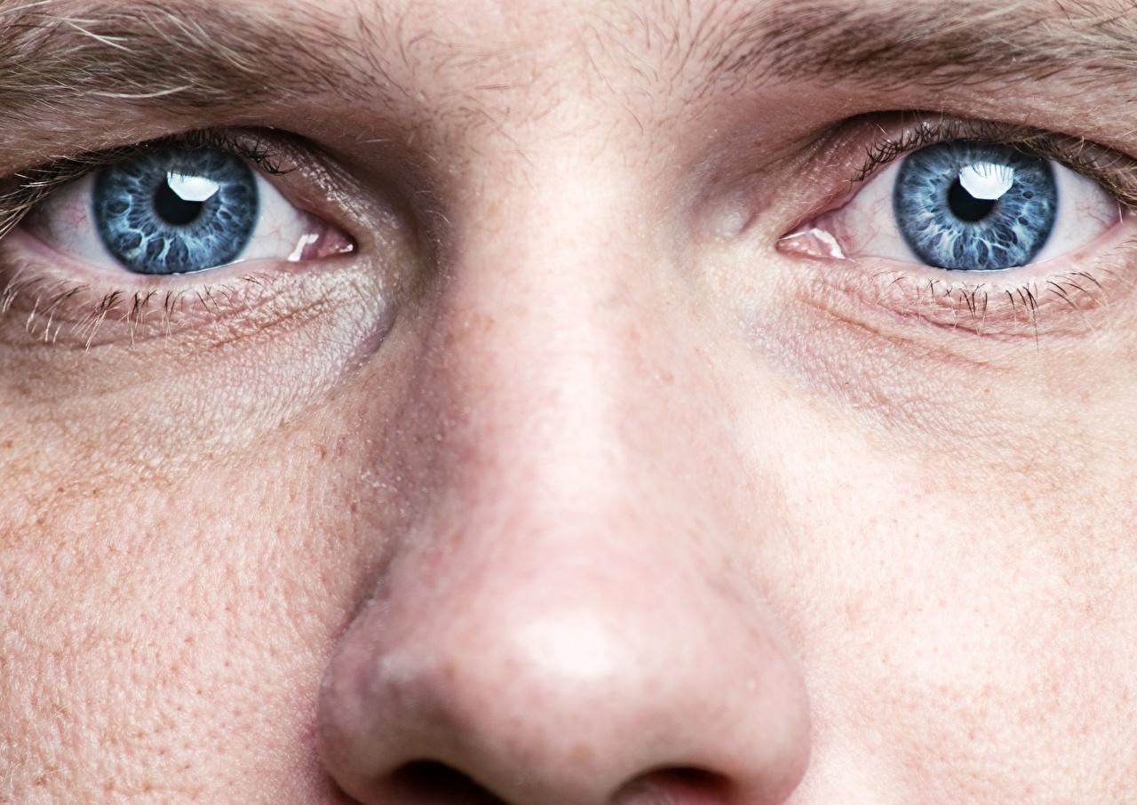 zdjęcie Oczy Mężczyźni nos zbliżenie mężczyzna Nosa Z bliska