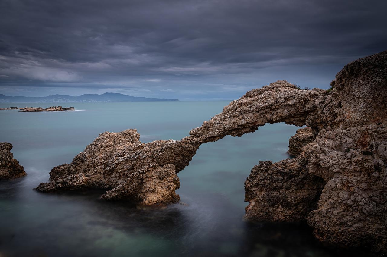 Desktop Wallpapers Spain Arch Girona Rock Nature Coast Crag Cliff
