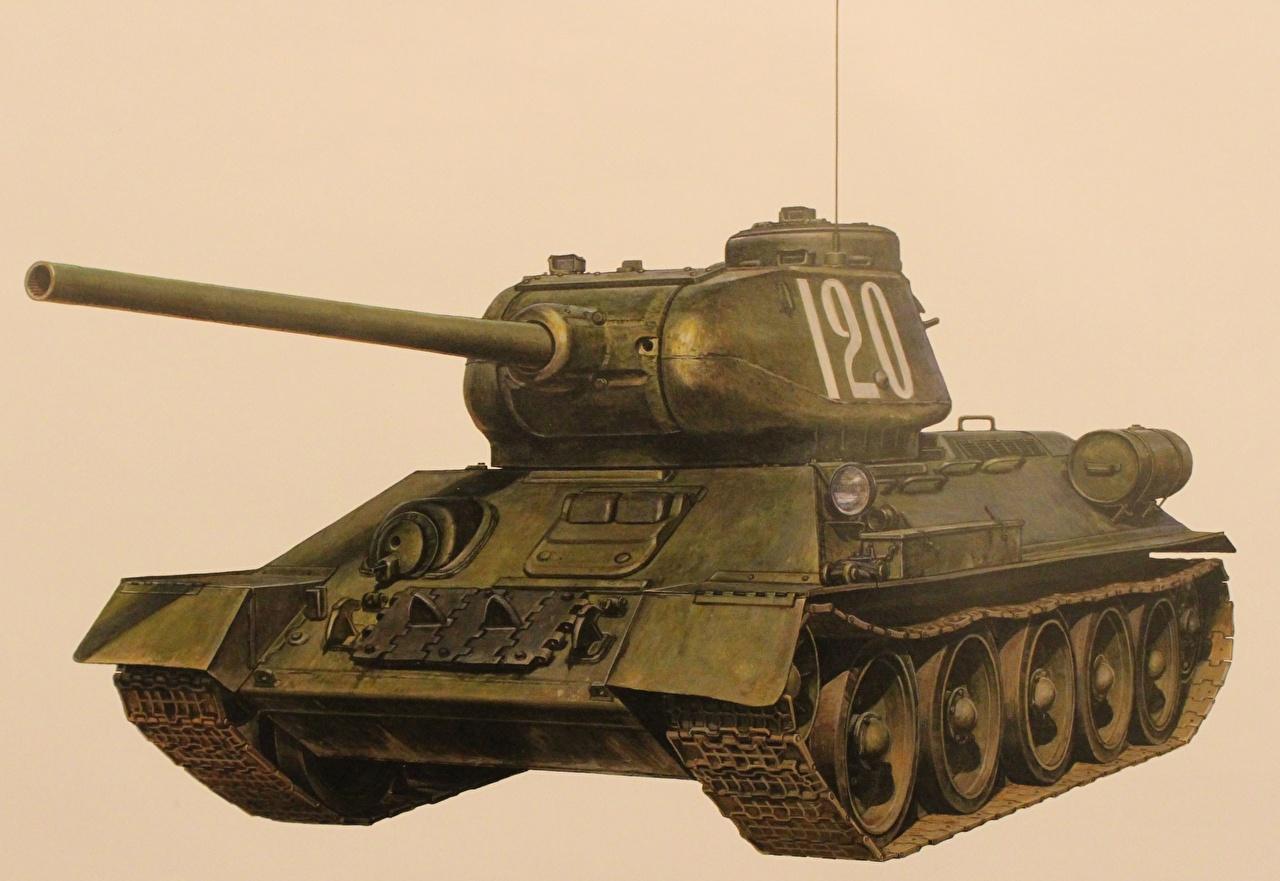 Hintergrundbilder T-34 Panzer russischer Gezeichnet Heer Farbigen hintergrund Russische russisches