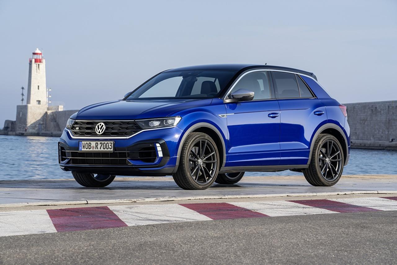 Bilder Volkswagen 2020 T-Roc Blau Autos Metallisch auto automobil