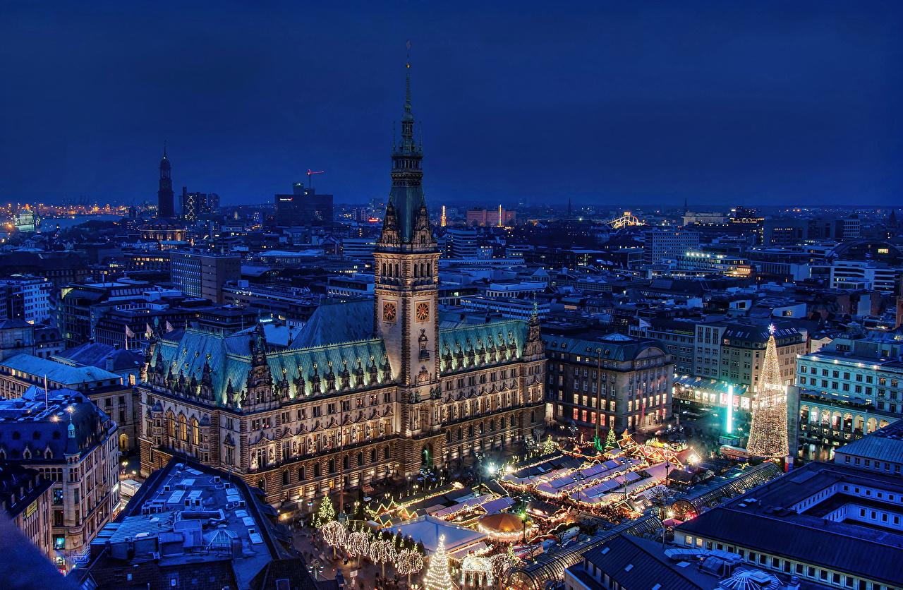 、ドイツ、住宅、ハンブルク、夜、上から、地平線、塔、建物、都市、