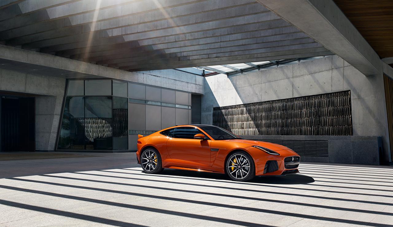 Wallpaper 2016 Jaguar F-Type SVR Orange Cars Metallic auto automobile