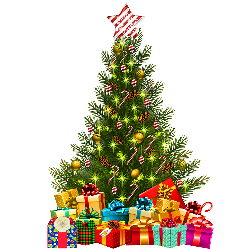 Wallpaper Christmas Christmas tree Box present Balls White background New year New Year tree Gifts