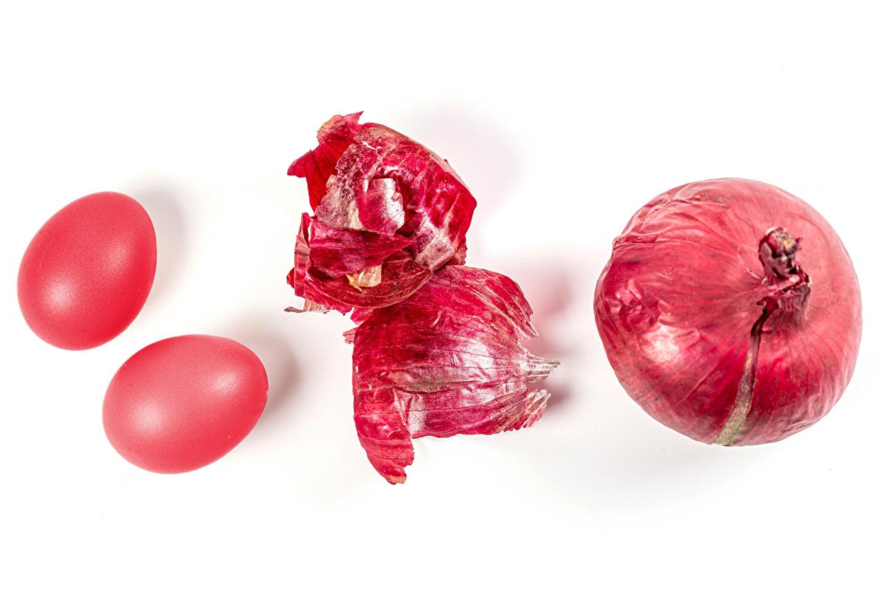 、復活祭、玉葱、白背景、2 二つ、卵、赤、食べ物、タマネギ、食品、