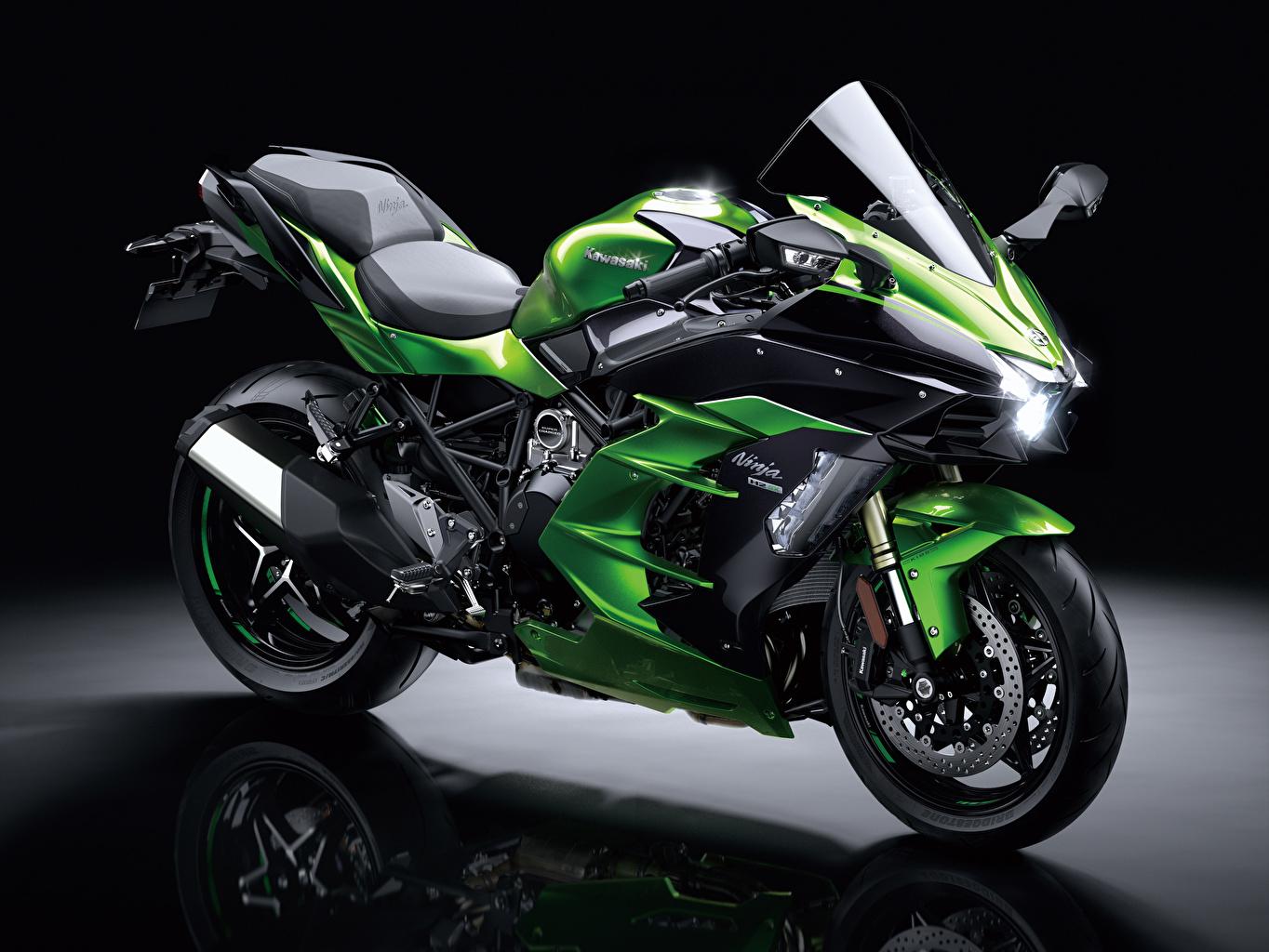 Fotos von Kawasaki 2018-21 Ninja H2 SX Grün Motorrad Motorräder