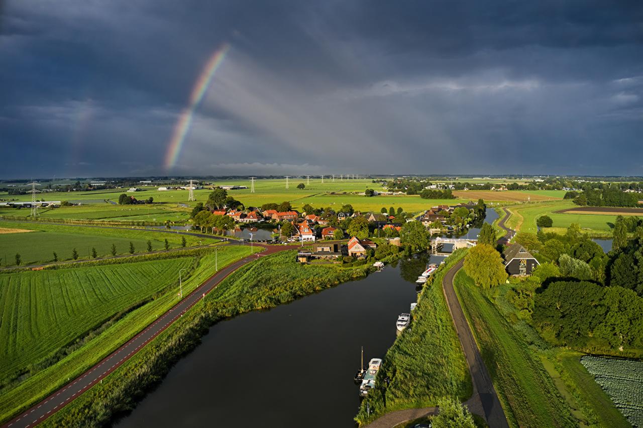 Fotos Niederlande Rustenburg Gewitterwolke Natur Regenbogen Felder Straße Fluss Haus Wege Acker Flusse Gebäude