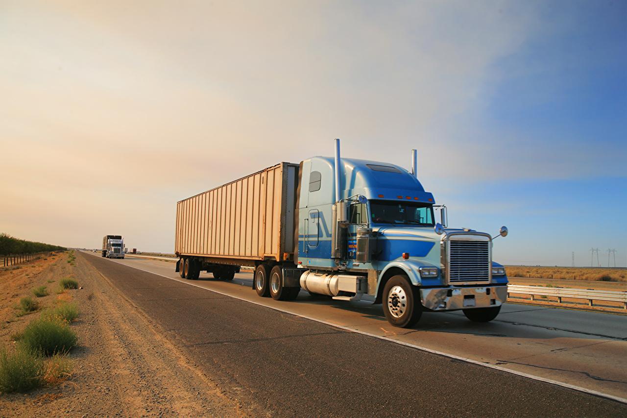 Pictures lorry Peterbilt Blue Roads automobile Trucks Cars auto