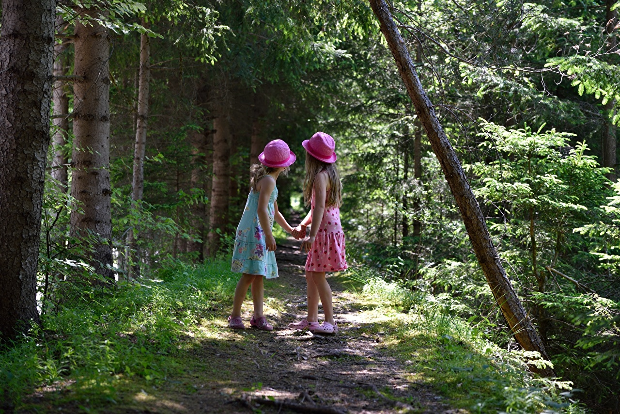 Wallpaper Little girls Children Hat Two path forest Dress child 2 Trail Forests gown frock