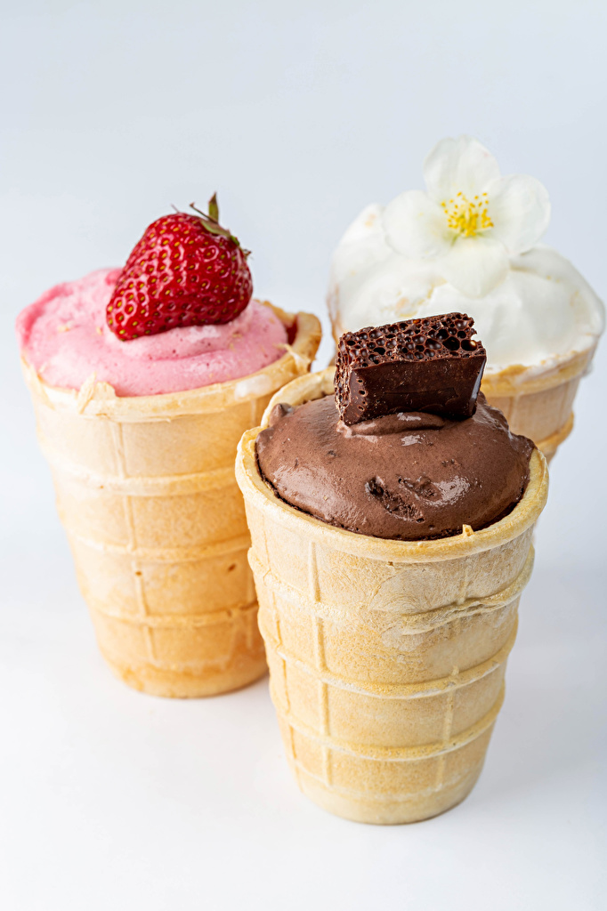 Photo Chocolate Ice cream Strawberry Food Three 3  for Mobile phone
