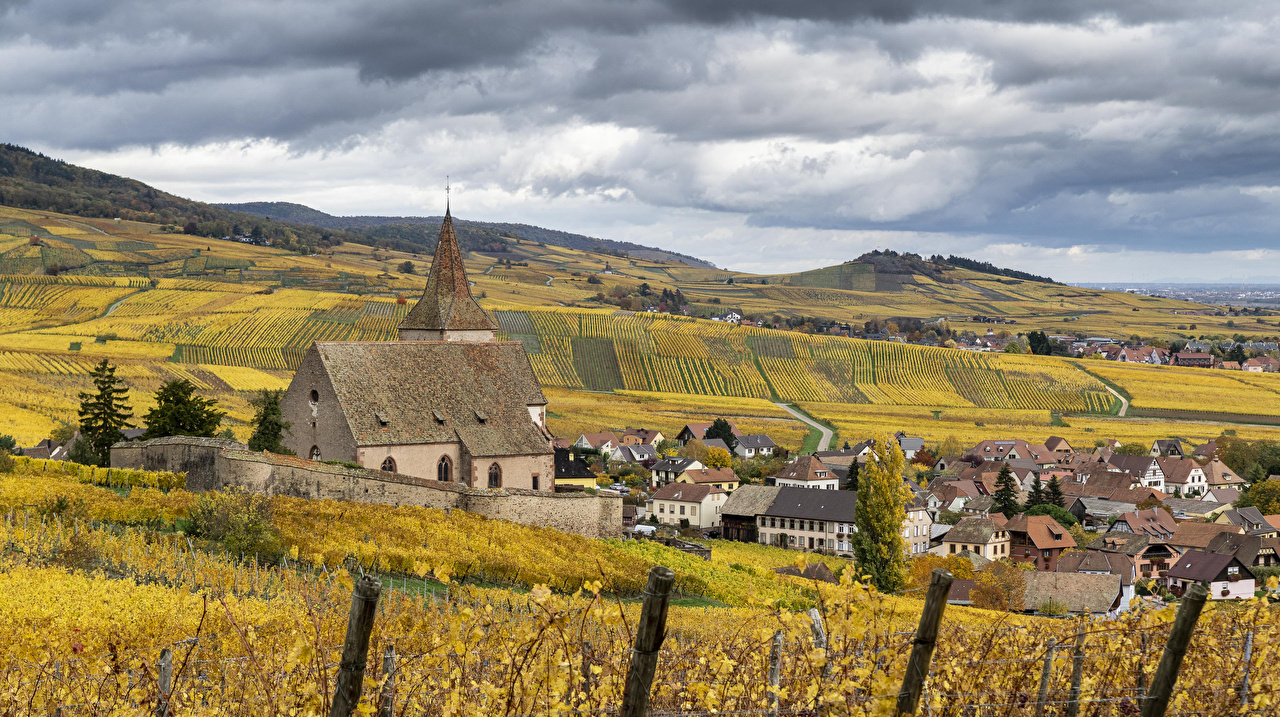 Desktop Wallpapers Church France Hunawihr Autumn Nature Fields Houses Cities Building