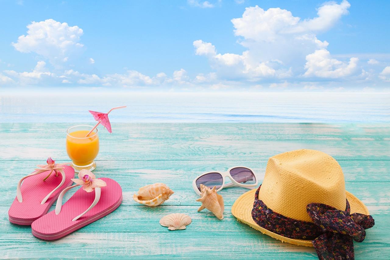 Foto Flipflop Meer Natur Ruhen Sommer Der Hut Himmel Muscheln Brille ausruhen Erholung