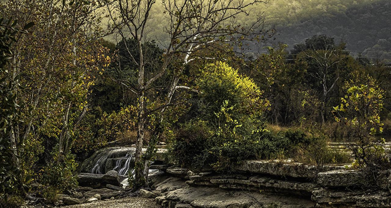 Hintergrundbilder Texas Austin TX Vereinigte Staaten Bull Creek District Park Natur Wasserfall Steine Bäume USA