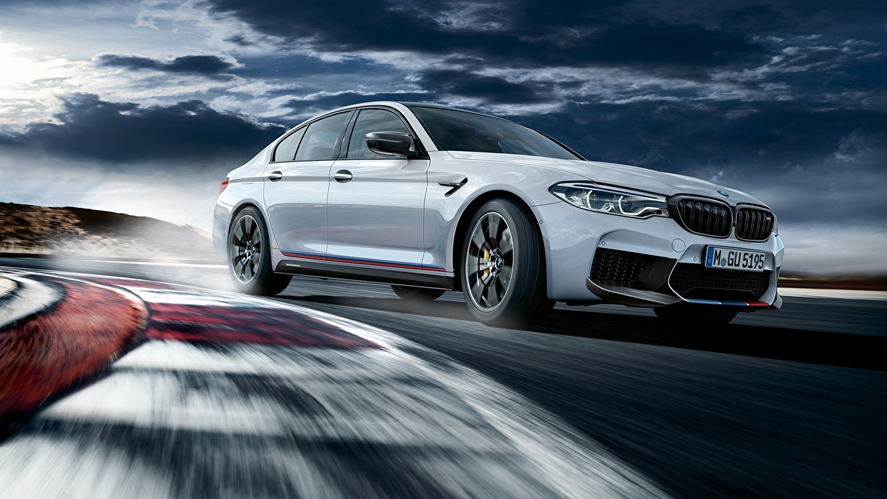 Picture BMW M5 M Performance 2018 White Motion Cars moving riding driving at speed auto automobile