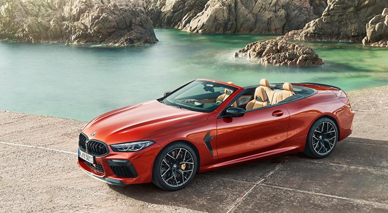Desktop Hintergrundbilder BMW M8, Competition Cabriolet, 2019 Cabrio Rot Autos Cabriolet auto automobil
