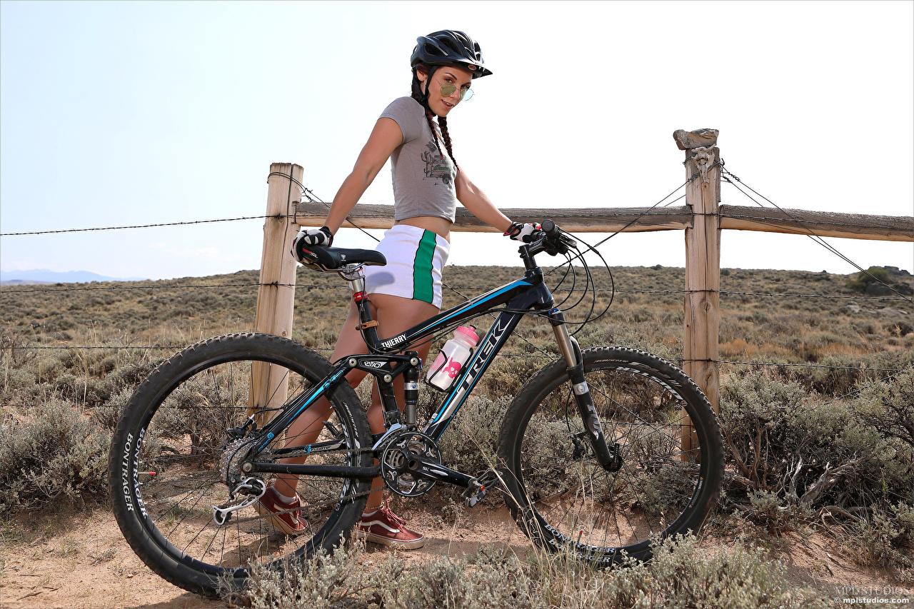 Pictures Elena Generi Helmet Braid hair Smile bike Girls T-shirt Shorts plait Bicycle bicycles female young woman