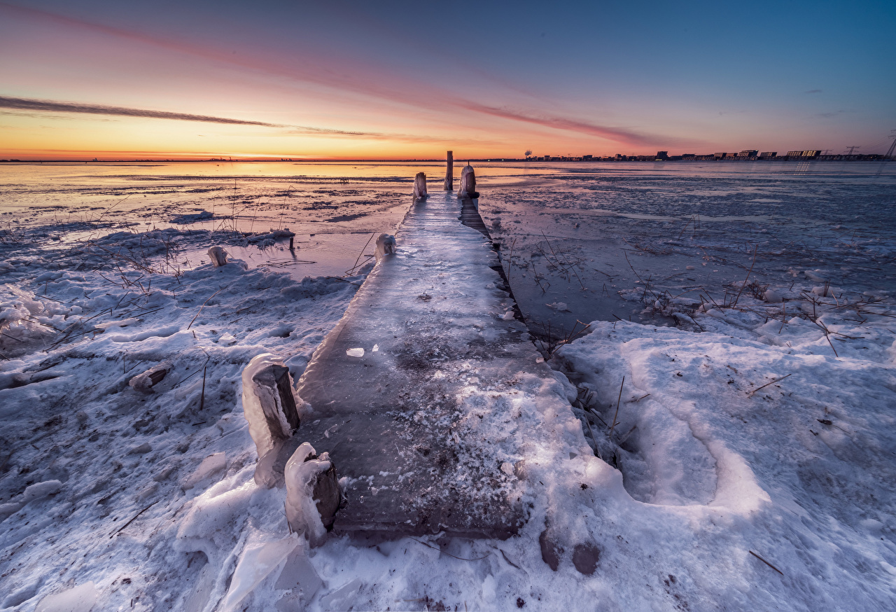 Desktop Wallpapers Netherlands Durgerdam Ice Nature Coast Marinas Pier Berth